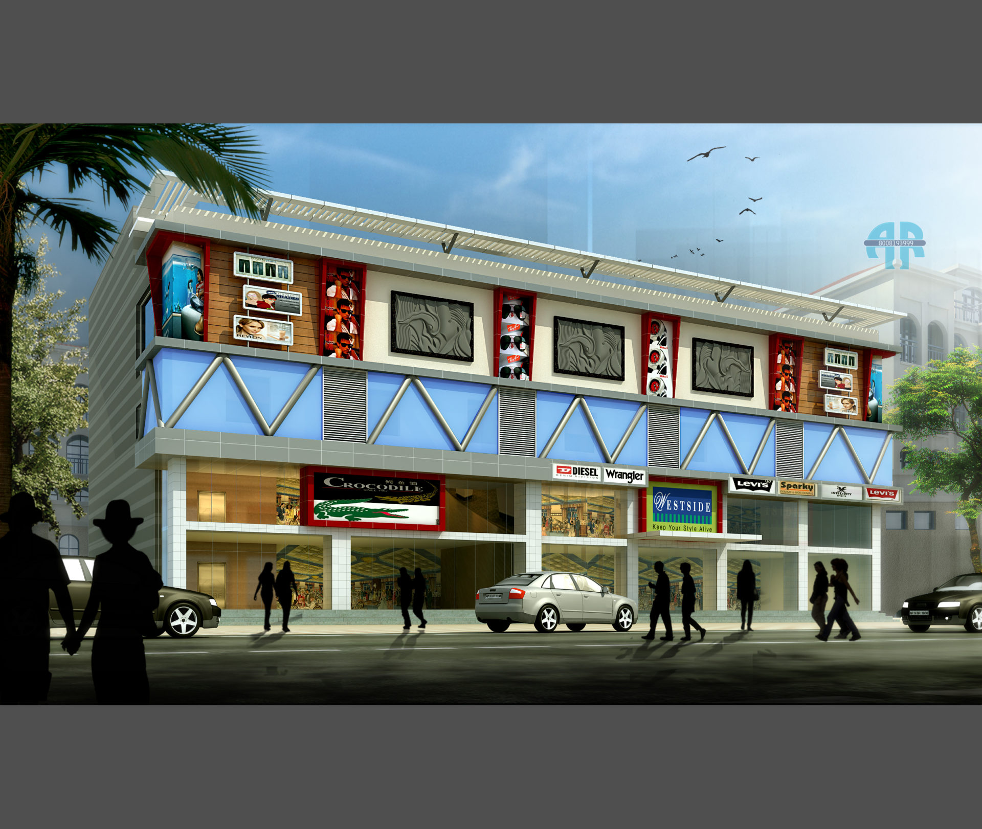 AR CONCEPTS Assuntha Bhavan Commercial Elevation Design