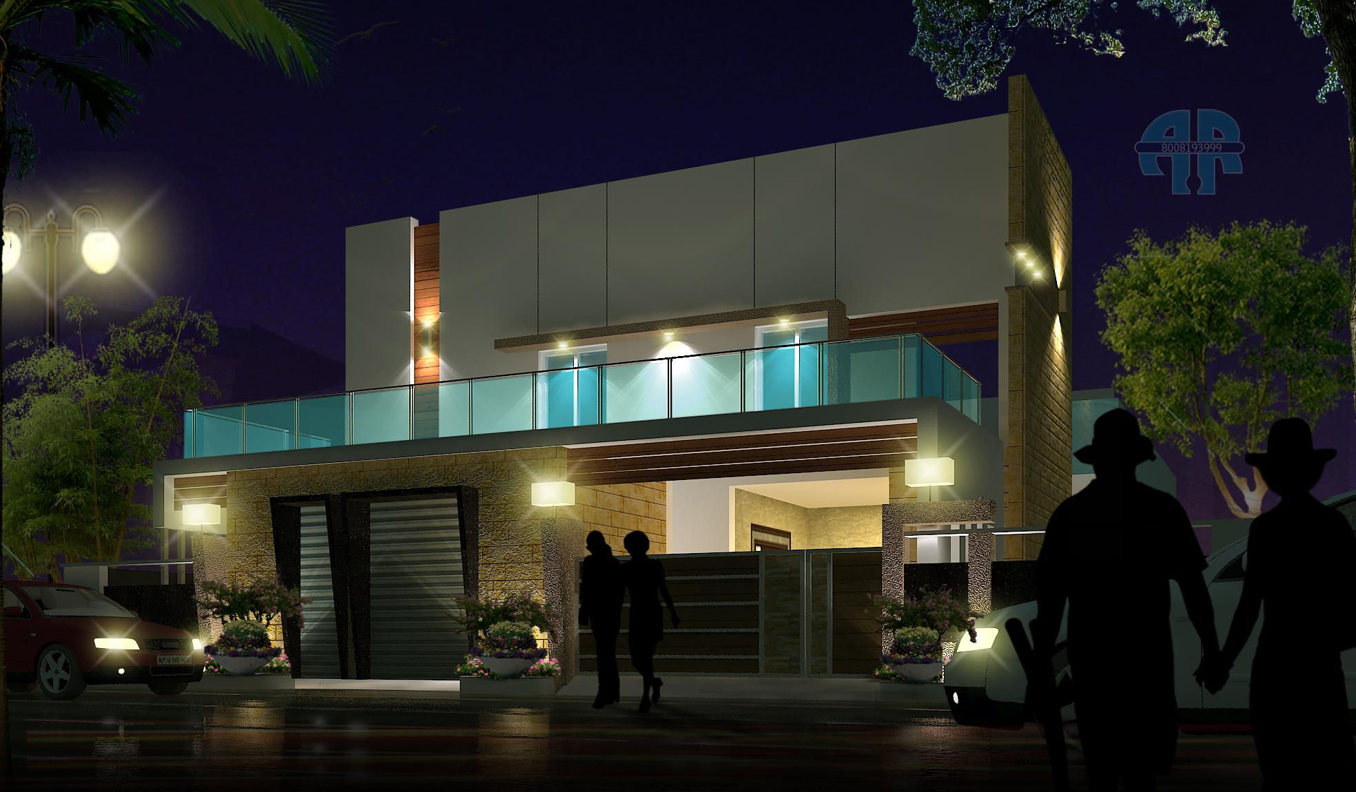 ar-concepts-madhinaguda-hyderabad-residential-elevation-night-view-image