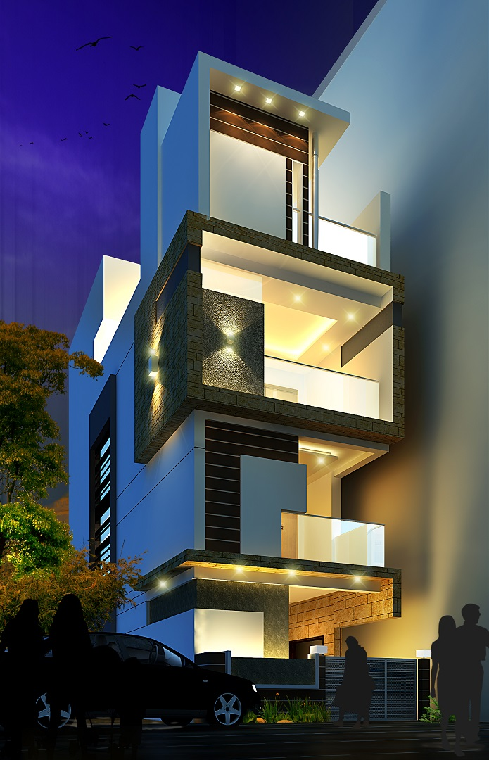 ar-concepts-nareandar-warangal-residential-elevation-night-view-image