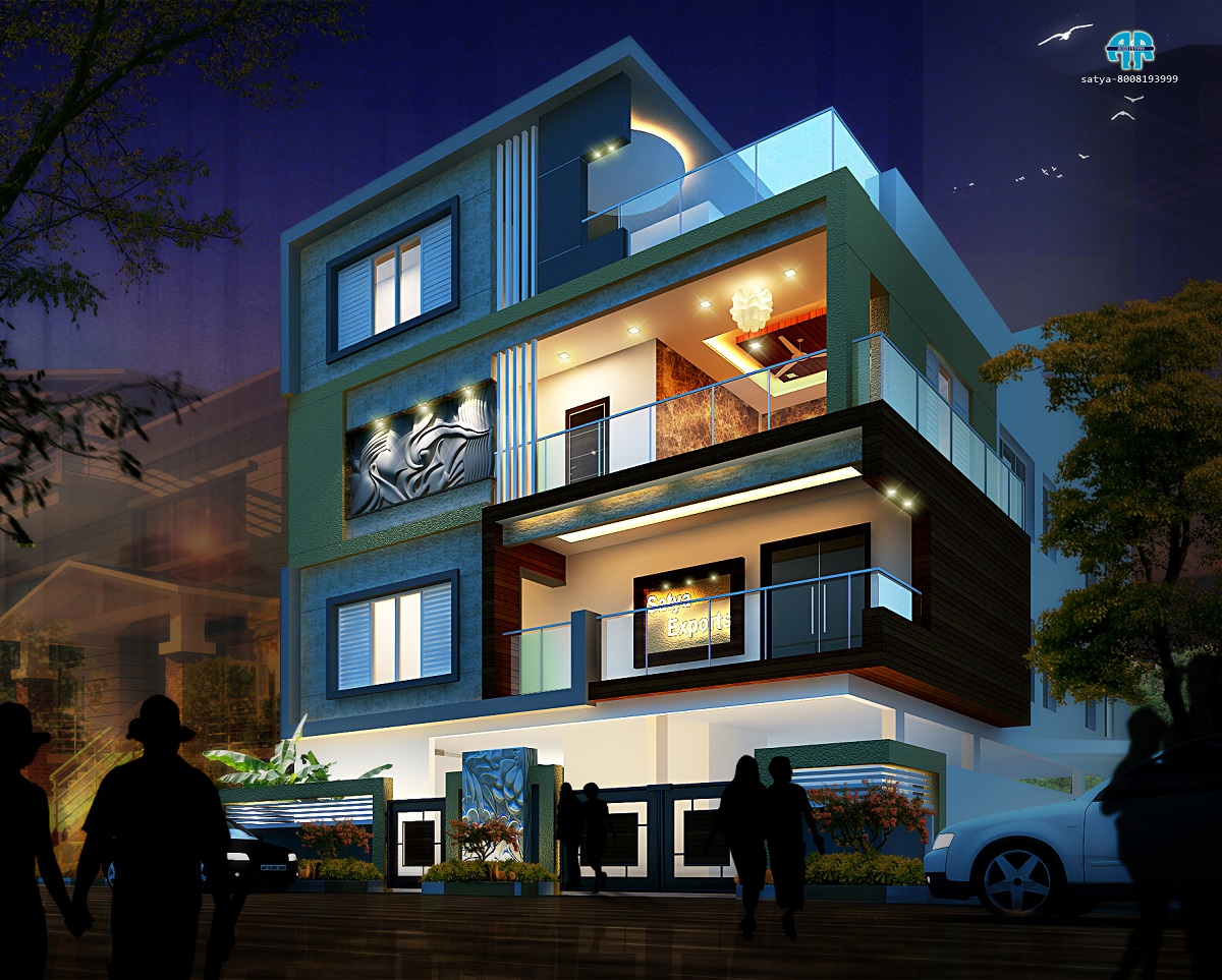 ar-concepts-satya-exports-residential-elevation-night-view-image